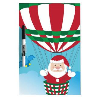 Santa Claus on hot air balloon Dry Erase Board