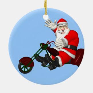 Santa Claus On Motor Trike Double-Sided Ceramic Round Christmas Ornament