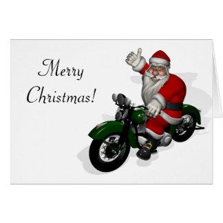 Santa Claus On Motorbike Card