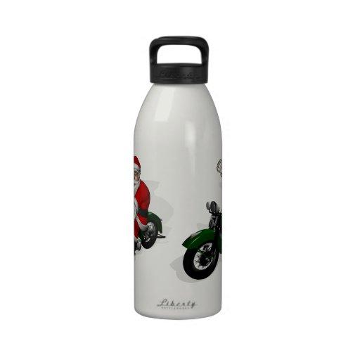 Santa Claus On Motorbike Reusable Water Bottle