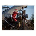 Santa Claus on motorcycle Post Card