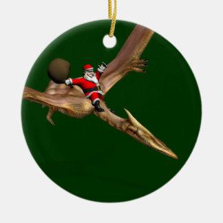 Santa Claus On Quetzalcoatlus Ceramic Ornament