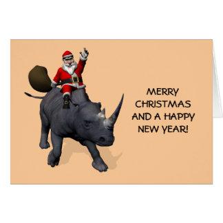 Santa Claus On Rhino Rhinoceros Greeting Cards