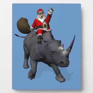 Santa Claus On Rhino Rhinoceros Plaque