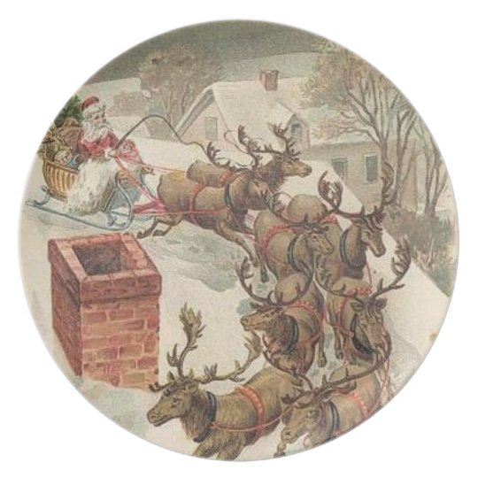 Santa Claus on Rooftop with reindeer Plate