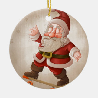 Santa Claus on skateboard Double-Sided Ceramic Round Christmas Ornament
