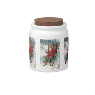 Santa Claus on Sleigh Candy Jars