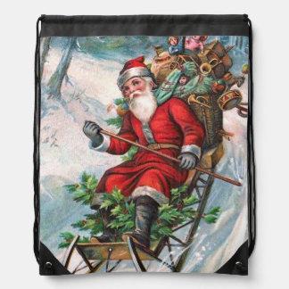 Santa Claus on Sleigh Drawstring Bag