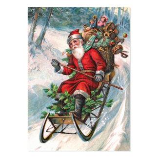 Santa Claus on Sleigh Large Business Card