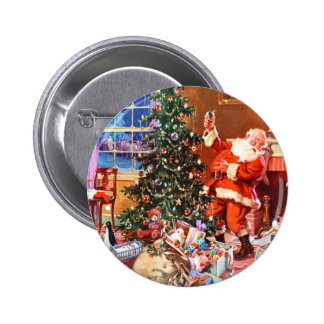 Santa Claus on The Night Before Christmas 2 Inch Round Button
