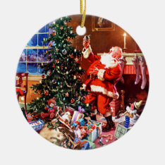 Santa Claus On The Night Before Christmas Ceramic Ornament at Zazzle