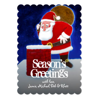 Santa Claus on the roof, looking in the chimney Card