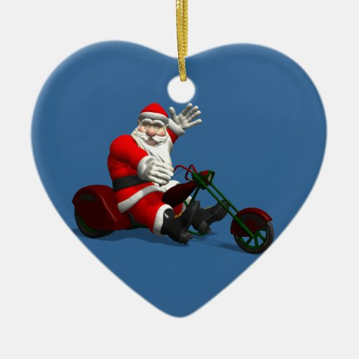 Santa claus on trike christmas tree ornaments zazzle