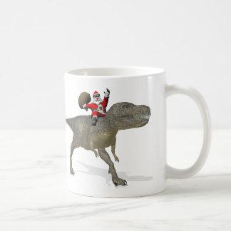 Santa Claus On Tyrannosaurus Rex Coffee Mug