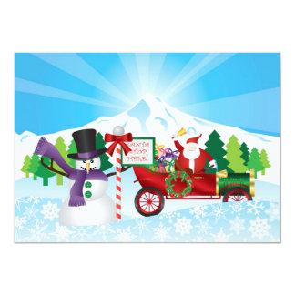 Santa Claus on Vintage Car Winter Season Card Custom Invites