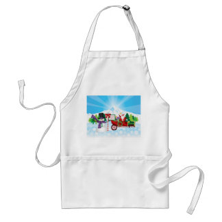 Santa Claus on Vintage Car with Winter Canvas Adult Apron