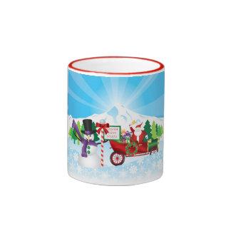 Santa Claus on Vintage Car with Winter Season Mug