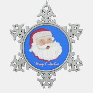 Santa Claus Snowflake Pewter Christmas Ornament