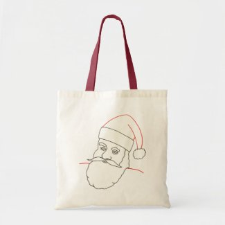 Santa Claus, outline drawing, coloring canvas bags