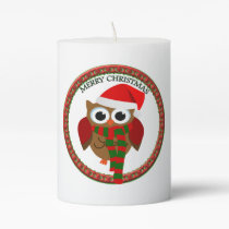 Santa Claus Owl with a red and white scarf and hat Pillar Candle