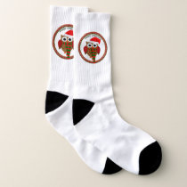 Santa Claus Owl with a red and white scarf and hat Socks