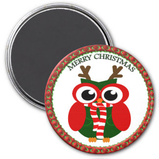 Santa Claus Owl with a red and white scarf Magnet
