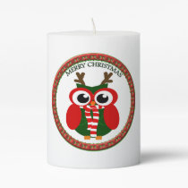 Santa Claus Owl with a red and white scarf Pillar Candle