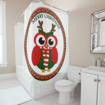 Santa Claus Owl with a red and white scarf Shower Curtain