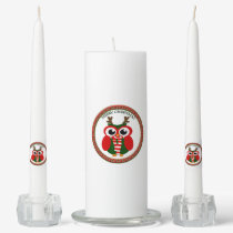 Santa Claus Owl with a red and white scarf Unity Candle Set