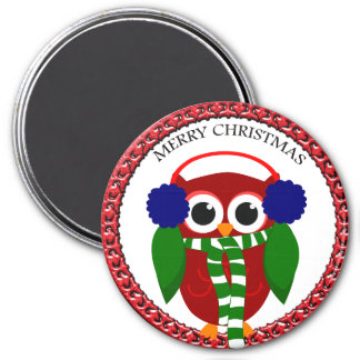 Santa Claus Owl with a scarf and blue ear muffs Magnet