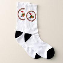 Santa Claus owl with christmas lights Socks