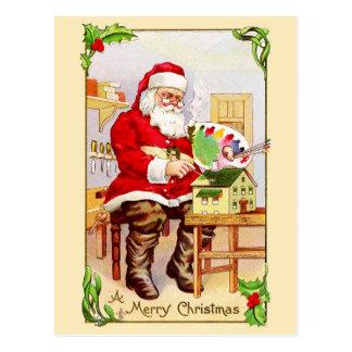 Santa Claus Painting a Doll House Postcard
