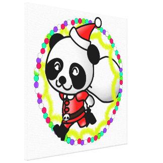 Santa Claus Panda Bear Stretched Canvas Print