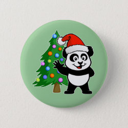 Santa Claus Panda Round Button