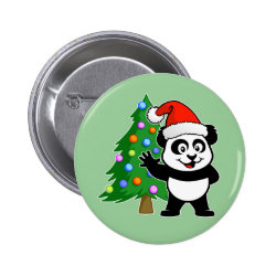 Round Button with Santa Claus Panda design