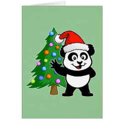 Santa Claus Panda Greeting Card