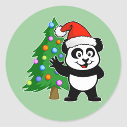 Round Sticker with Santa Claus Panda design