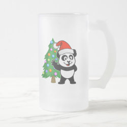 Santa Claus Panda Frosted Glass Mug