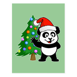 Postcard with Santa Claus Panda design