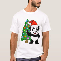Men's Basic T-Shirt with Santa Claus Panda design