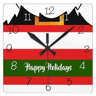 Santa Claus pants and beard Merry Christmas Square Wall Clock