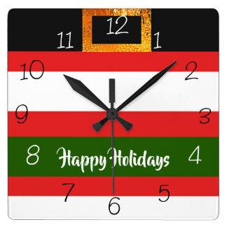 Santa Claus pants Christmas Square Wall Clock
