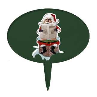 "Santa Claus ""Party Pooper"" Christmas Cake Pick"