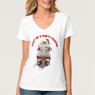 "Santa Claus ""Party Pooper"" Funny Christmas T-shirt"