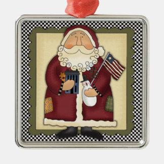 Santa Claus Patriotic Country Christmas Keepsake Square Metal Christmas Ornament