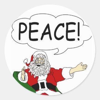 Santa Claus: Peace! Classic Round Sticker