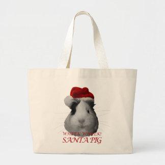 Santa Claus Pig Guinea Pig Christmas Holidays Jumbo Tote Bag