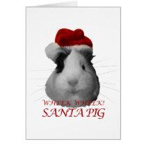 Santa Claus Pig Guinea Pig Christmas Holidays Card