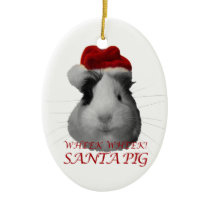 Santa Claus Pig Guinea Pig Christmas Holidays Ceramic Ornament