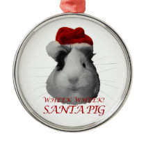 Santa Claus Pig Guinea Pig Christmas Holidays Metal Ornament